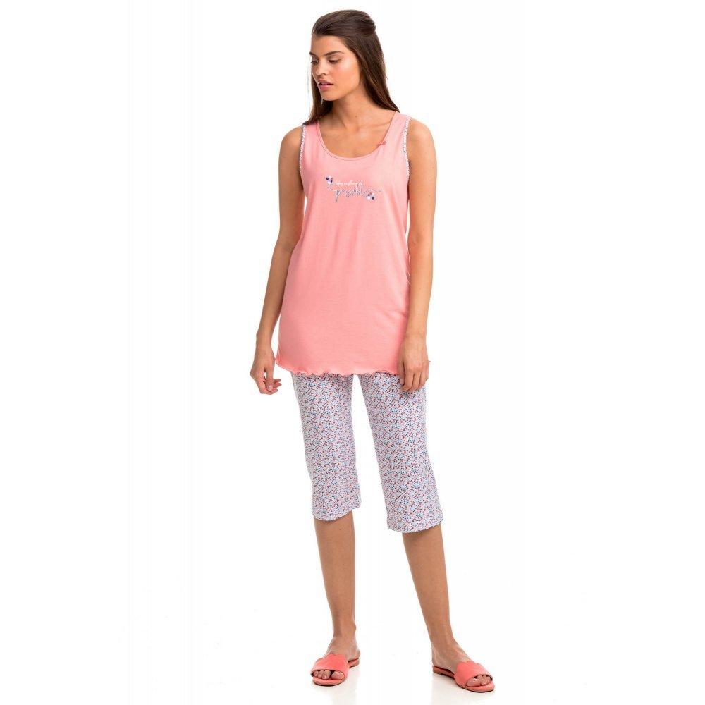 Γυναικεία Πυτζάμα Vamp Αμάνικη Με Κάπρι Παντελόνι Floral Σχέδιο