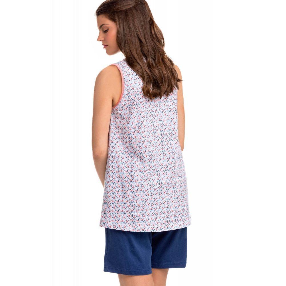Γυναικεία Αμάνικη Πυτζάμα Vamp με Floral Print Στην Μπλούζα