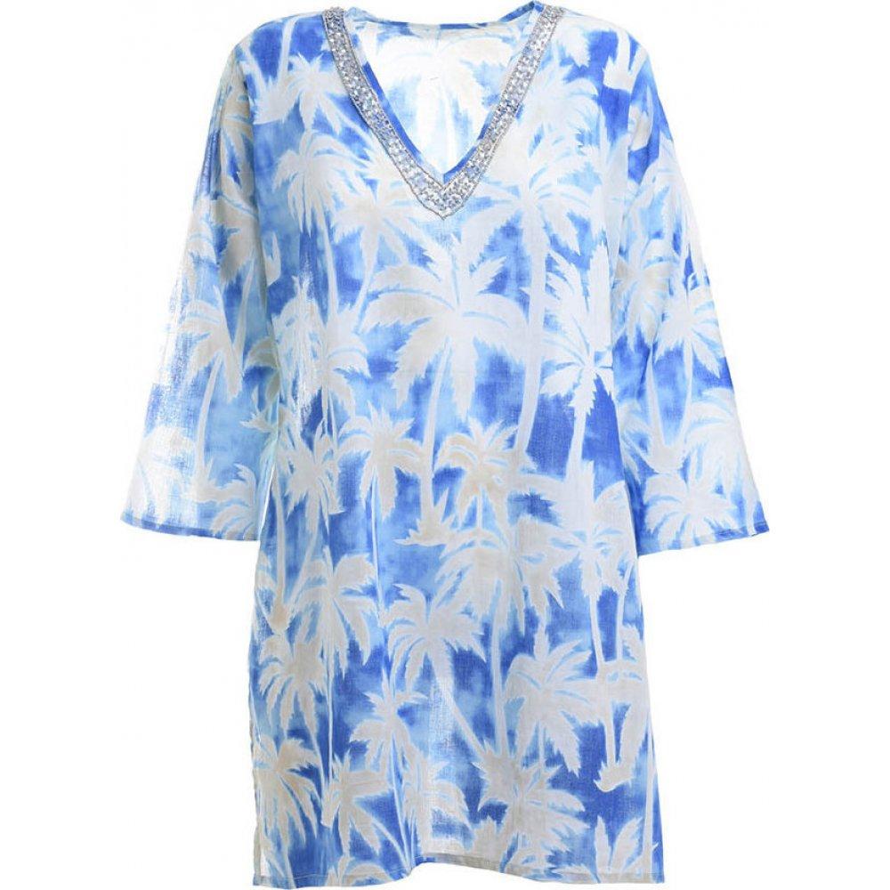Γυναικείο Καφτάνι Με Φοίνικες Γαλάζιο/Λευκό Ble