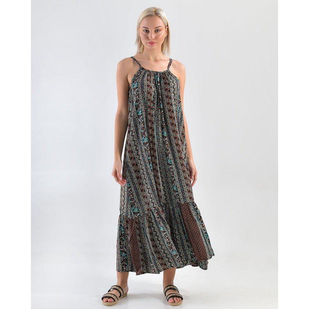Γυναικείο Φόρεμα Μακρύ Τιράντα Καφέ/Πράσινο Ble