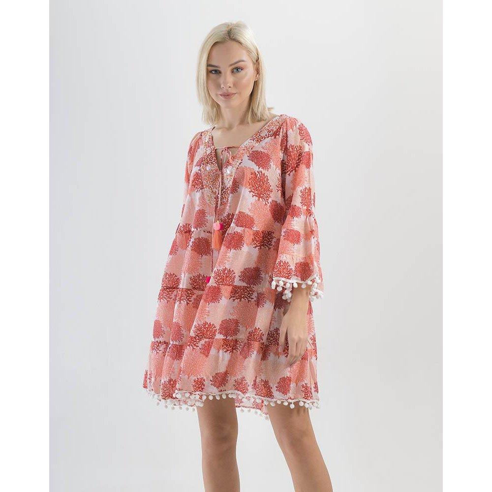 Γυναικείο Φόρεμα Πομ Πομ Με Κέντημα Ble