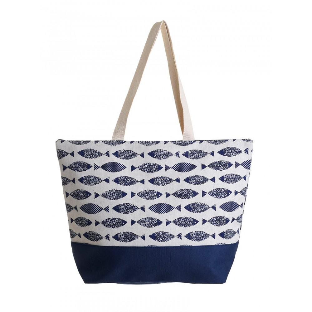 Γυναικεία Τσάντα Υφασμάτινη Μπλε Με Ψαράκια Ble