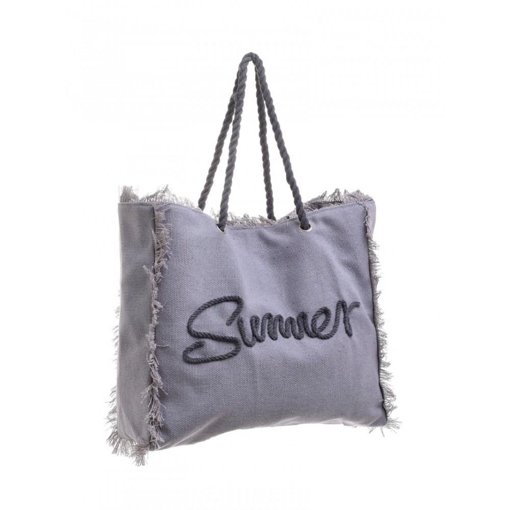Γυναικεία Τσάντα Υφασμάτινη Γκρι Summer Ble