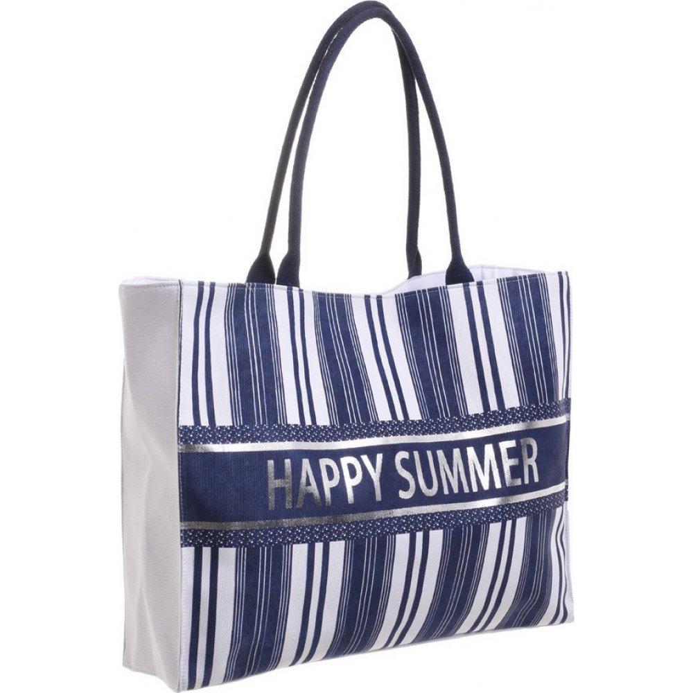 Τσάντα Θαλάσσης Ψάθινη Λευκή  Με Μπλέ Ρίγες BLE