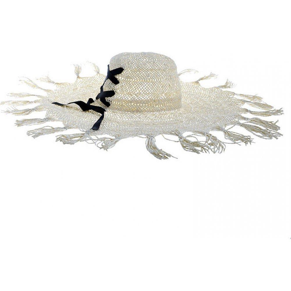 Γυναικείο Καπέλο Ψάθινο Μπέζ Με Κρόσια  BLE