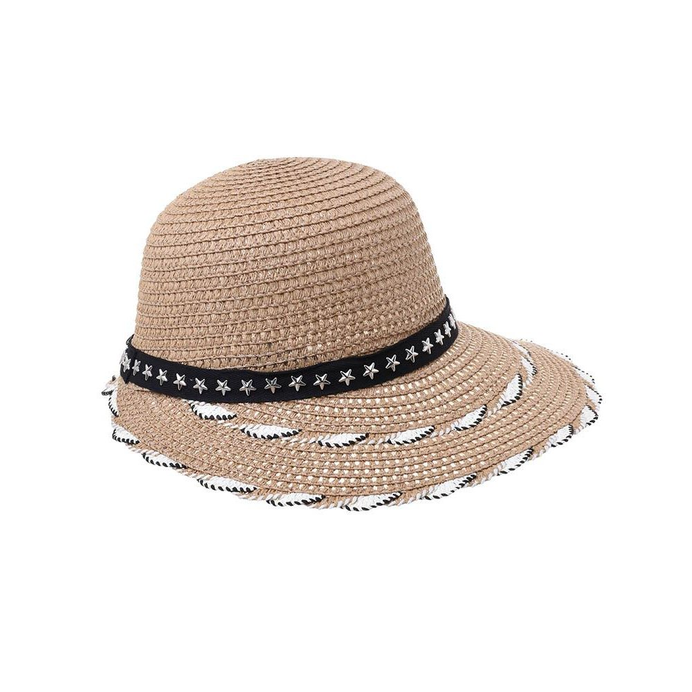 Γυναικείο Καπέλο Ψάθινο Μπέζ Σκούρο Με Ρίγες BLE
