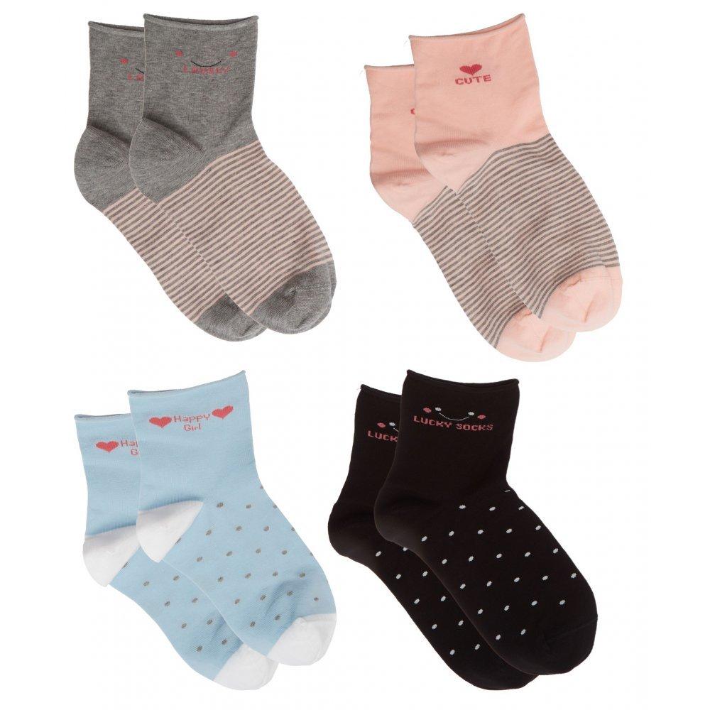 ME-WE Γυναικείες κάλτσες μονόχρωμες με σχέδια χωρίς λάστιχο  οικονομική συσκευασία με 2 ζευγάρια