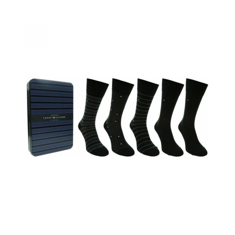 Ανδρικές Κάλτσες Tommy Hilfiger Σε Μεταλλικό Κουτί Δώρου με 5 Ζεύγαρια